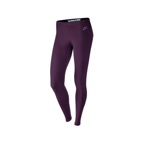 Nike Women's Leg-A-See Just Do It Metal Leggings ($35) ❤ liked on Polyvore featuring pants, leggings, purple, metallic leggings, patterned yoga pants, purple leggings, print yoga pants and purple metallic leggings
