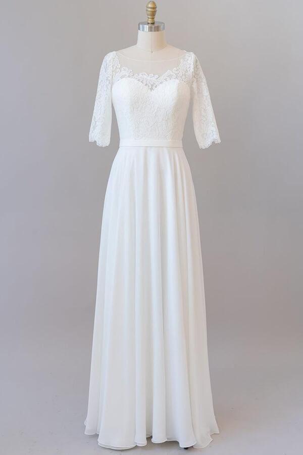 Graceful Lace Chiffon Floor Length Wedding Dress In 2020 Long Sleeve Wedding Dress Lace Floor Length Wedding Dress Cheap Wedding Dress Boho