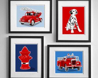 Fireman Nursery Art Fire Fighter Decor Fire Truck by PaperLlamas