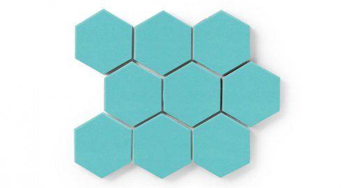 "Turquoise Fireclay Tile hexagon 3"" 4"" 6"" 8"" or 12"""