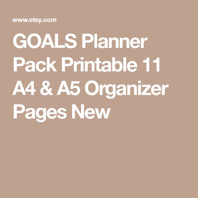 GOALS Planner Pack Printable  11 A4 & A5 Organizer Pages New