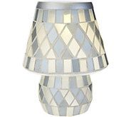 Glass Tile Diamond Pattern Battery Operated Lamp by Valerie - H209854