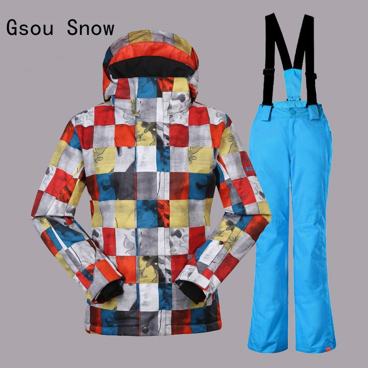 Boys Gsou Snow Band Ski Suit Winter Warm Clothing Outdoor Sport Wear Skiing Snowboard JacketPants Windproof Waterproof Clothing