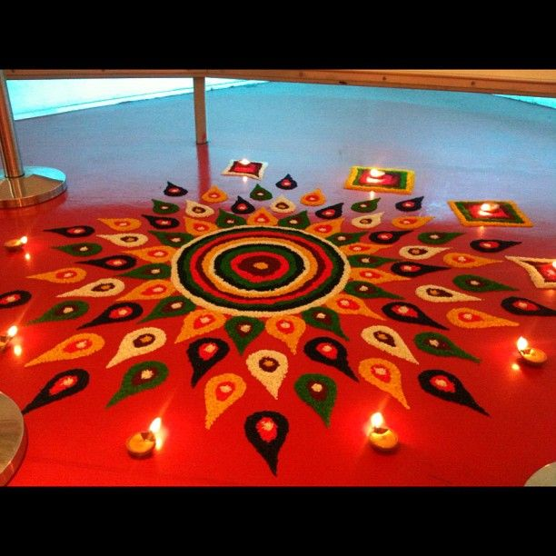 A beautiful & vibrant kolam specially decorated by our #AirAsiaAllstars at the RedFort adds to the joyous Deepavali mood today! ;)