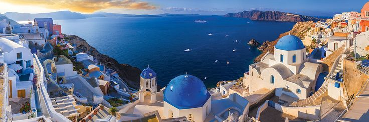 360º Panoramic photography. Santorini, Greece. 1000 pieces. 39 inches wide by 13 inches high.
