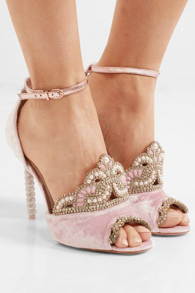 Heel measures approximately 110mm/ 4.5 inches Pastel-pink velvet, rose gold leather Buckle-fastening ankle strap  Imported