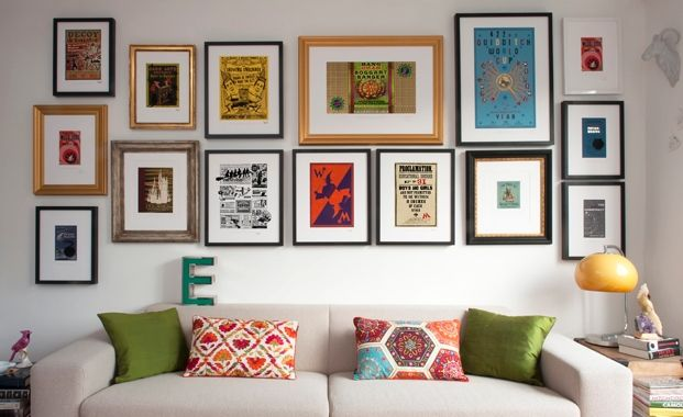 Hang a selection of brightly coloured prints