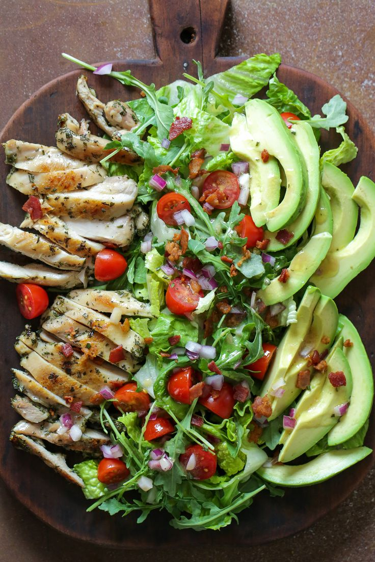 (Use 1 chicken thigh and 4 oz. nitrate-free turkey bacon to serve 2) Rosemary Chicken Salad with Avocado and Bacon: This hearty salad is HUGE – perfect when you want a big salad for dinner.