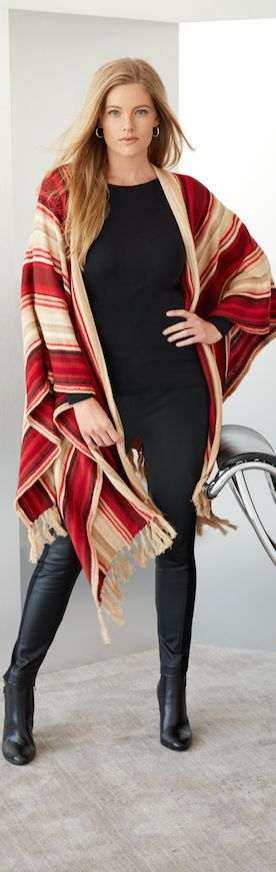 Striped Poncho from Lauren Ralph Lauren: A serape-inspired striped pattern and swinging fringed trim define this linen-and-cotton-blend poncho. Layer the open-front style over an all-black ensemble for a bold pop of color.