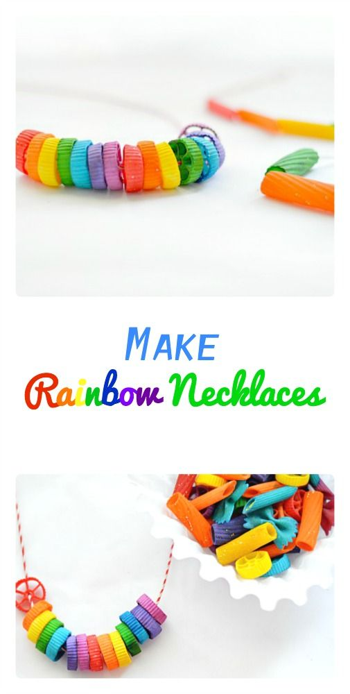 Make easy rainbow necklaces! With painted noodles for the little guys!!!!
