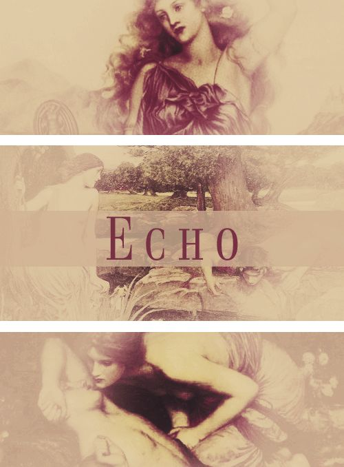 """Echo"" in Greek mythology, a mountain nymph, or oread. Echo offended the goddess Hera by keeping her in conversation, thus preventing her from spying on one of Zeus' amours. To punish Echo, Hera deprived her of speech, except for the ability to repeat the last words of another. Echo's hopeless love for Narcissus, who fell in love with his own image, made her fade away until all that was left of her was her voice."