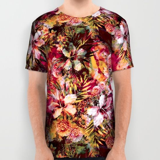 Tropical All Over T-shirt #tropical #summer #floral #leaves