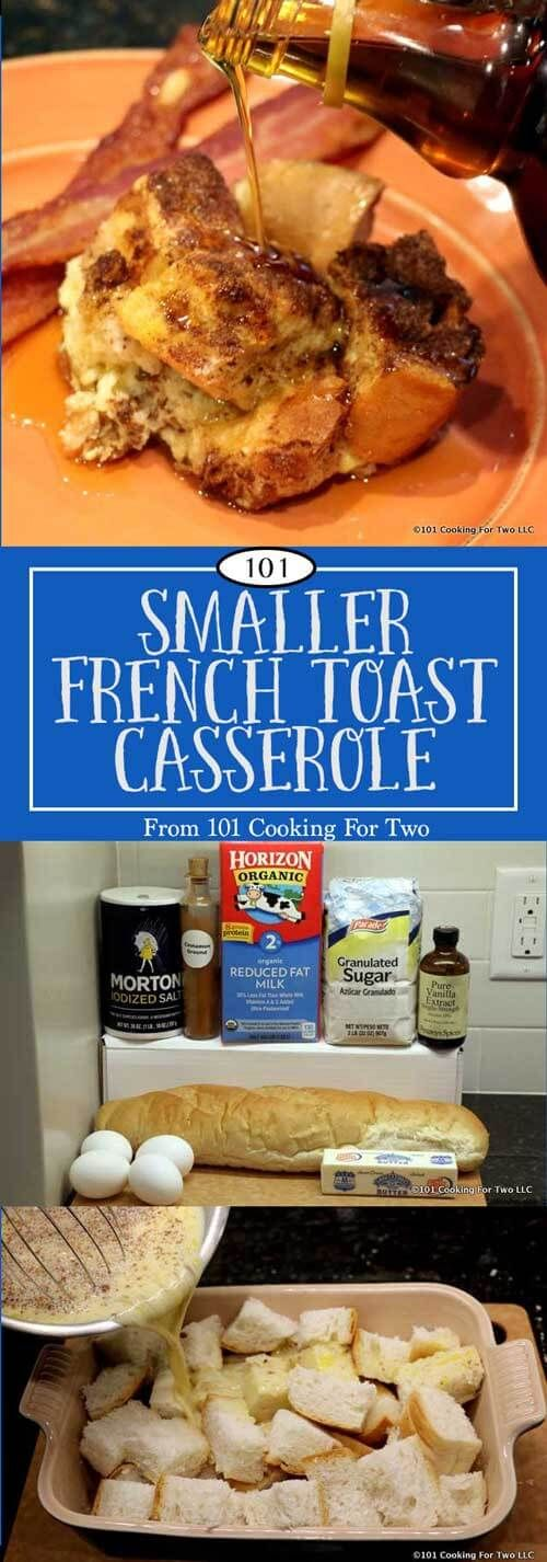 French Toast Casserole is a classic breakfast/brunch dish for the family or holiday gathers. Now you can whip up an amount that fits smaller households. via @drdan101cft