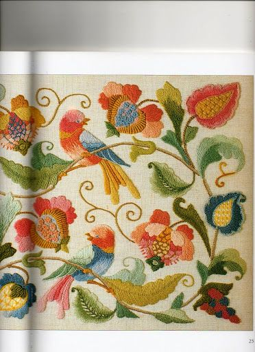 embroidered birds and flowers, illustration from Beginner's Guide to Crewel Embroidery by Jane Rainbow // BORDADO - WENDOLYN PEREZ RODRIGUEZ - Picasa Web Albums