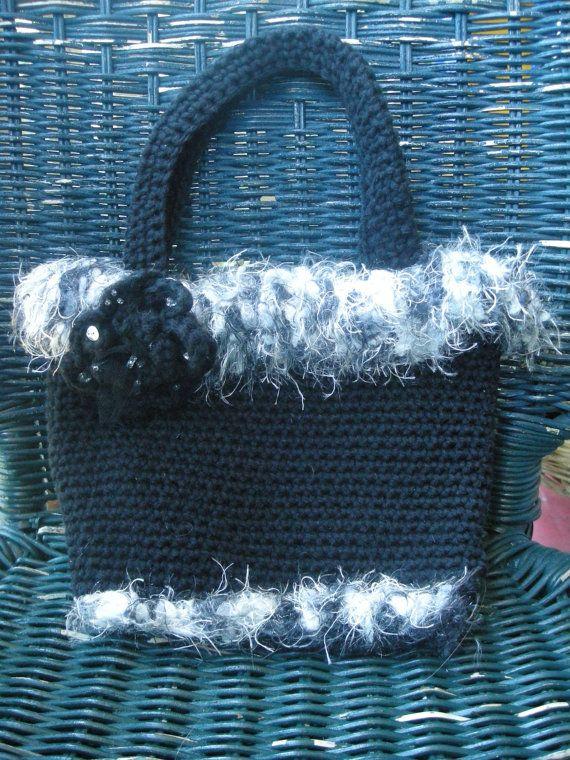 Crochet Purse, Purse, Fancy Purse, Black and White purse, Beaded,] OOAK, Handmade by CelinaRoseDesigns on etsy, $14.00