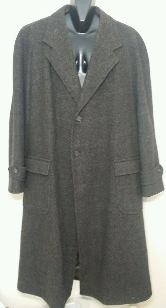 Polo University Club by Ralph Lauren 100% Wool Overcoat Mens Brown Tweed XXL 2XL #PoloUniversityClub #Trench