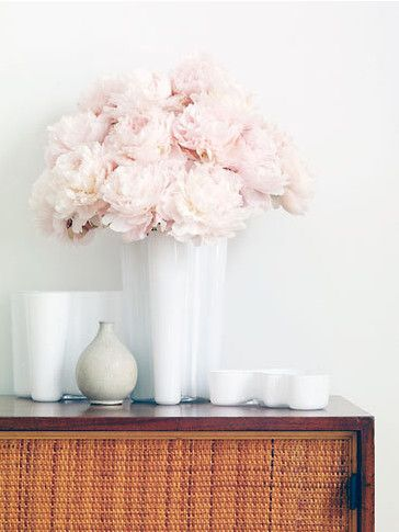 Peonies | Stylist Joe Maker. Love this beautiful old fashion cut flower in a modern vase.