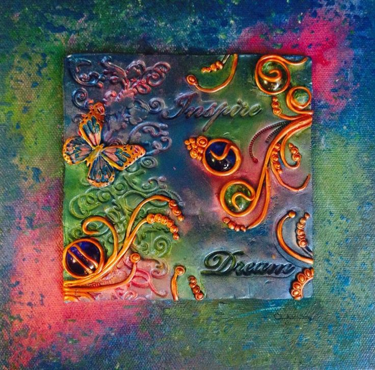 My secret garden Polymer clay on canvas