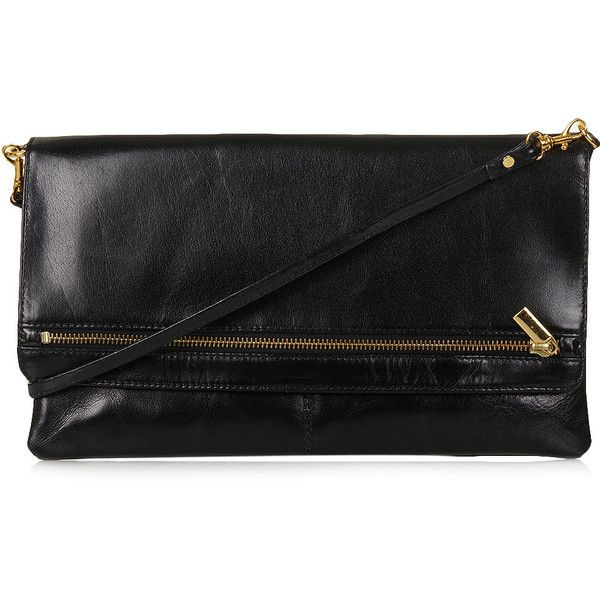 TOPSHOP Clean Zip Front Clutch (£53) ❤ liked on Polyvore featuring bags, handbags, clutches, black, topshop bags, purses, real leather handbags, man bag, zipper purse and topshop handbags