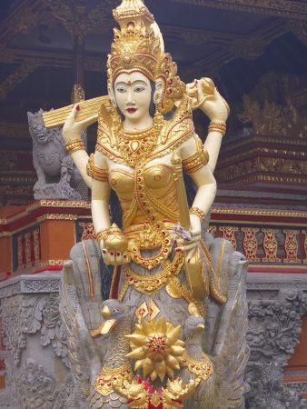 Statue of Goddess Saraswati, Water Lotus Temple, Ubud, Bali, Indonesia, Southeast Asia, Asia