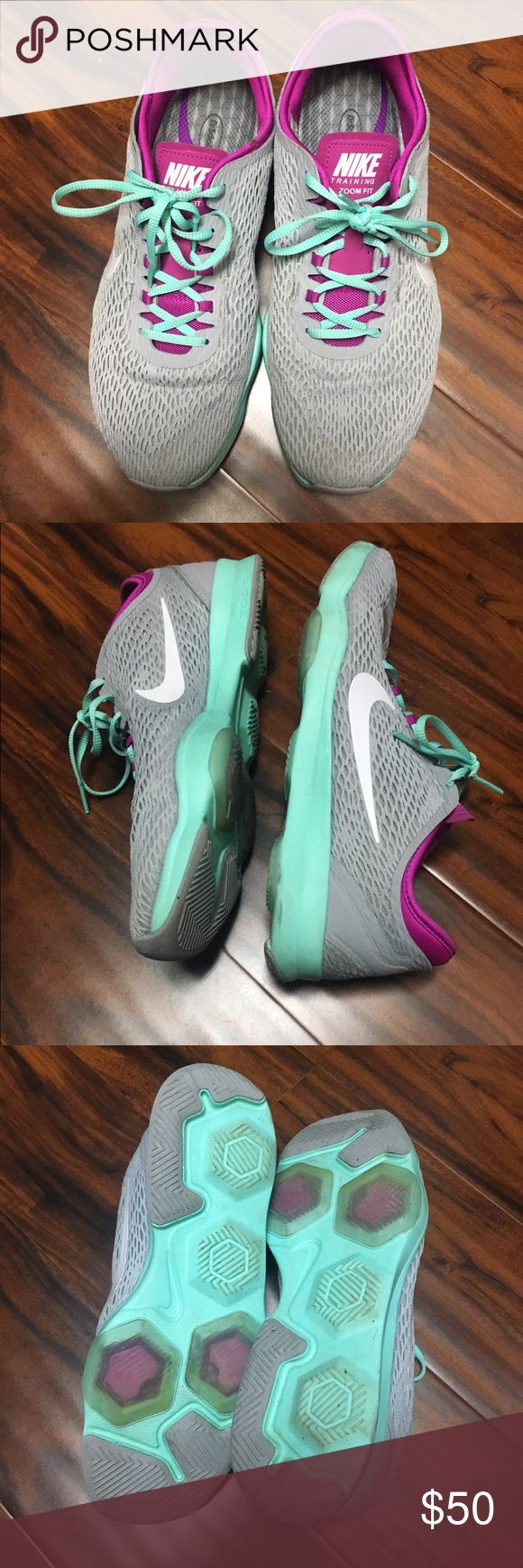 Nike Zoom Fit Cute mint and pink Nike zoom fits that have been worn two or three times. In great condition. New insoles put in for more arch support. Nike Shoes Athletic Shoes