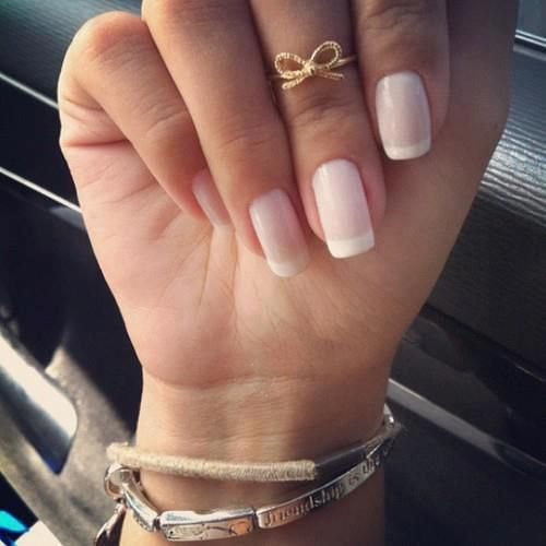 Nothing better and more fitting than a french manicure.