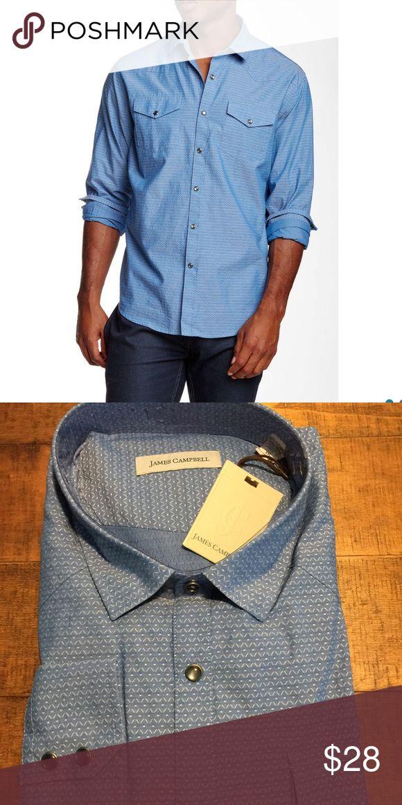 James Campbell shirt Fitz print. Color:water. Long sleeves. Regular fit. James Campbell Shirts Dress Shirts