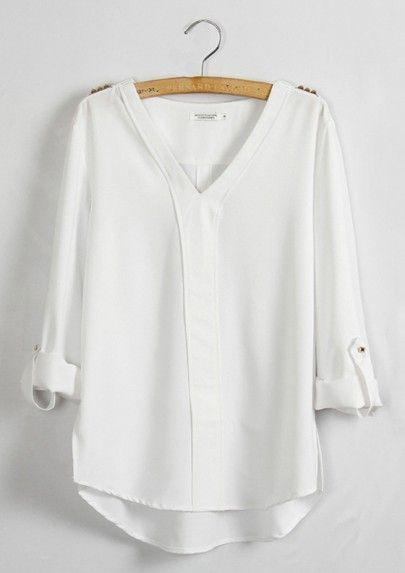 White Plain Epaulet V Neck Long Sleeve Chiffon Blouse Style Fashion Pinterest Blouse Chiffon And Fashion