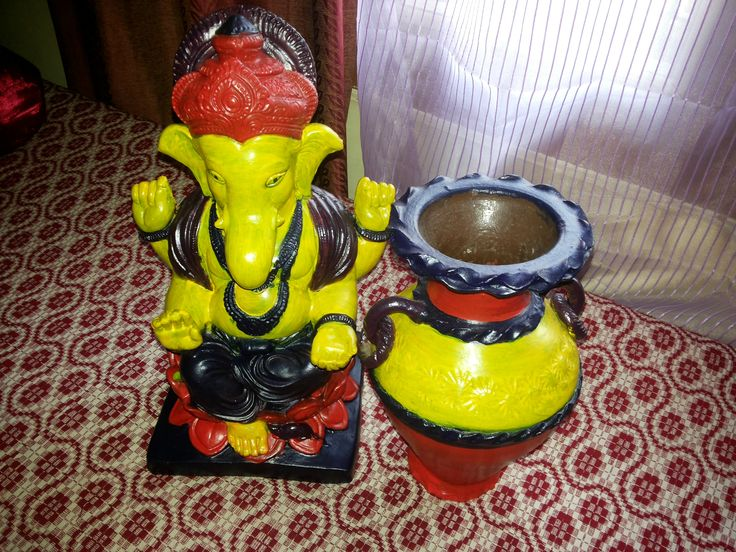 Make over of old pot and Ganesh idol