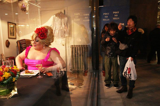Diesel's Five On Fifth (NY). Intimate party's staged in store windows to draw curiosity from the crowds