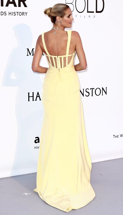 Better From the Back? Stars' Most Jaw-Dropping 360° | People - Heidi Klum in a pale yellow dress