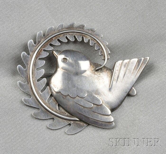 Georg Jensen, Sterling Silver Bird Brooch,  designed as a songbird perched on a branch, no. 309, lg. 2 in., signed Georg Jensen, Denmark.