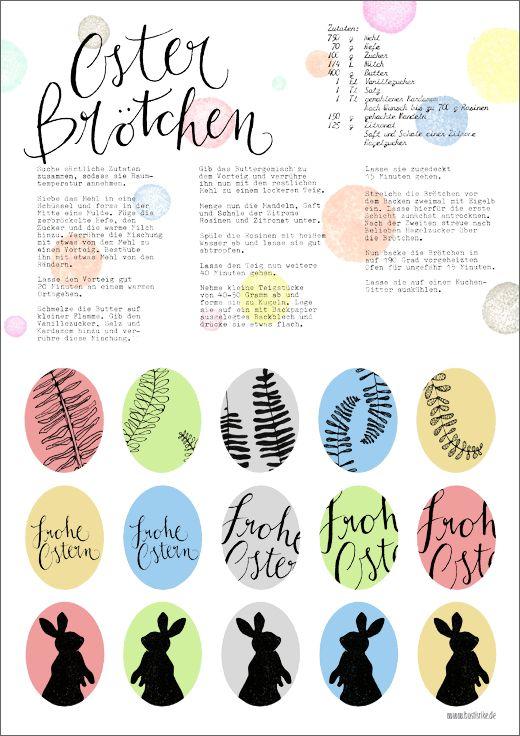 sweet free Easter printable and Easter bun recipe (in German)