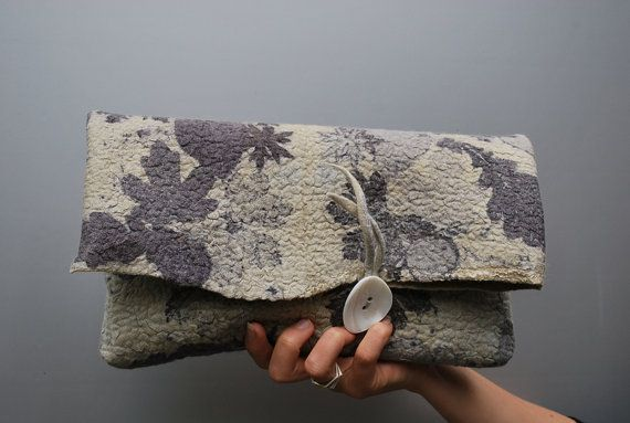 Extraordinary eco dyed hand felted clutch on Etsy, $150.00