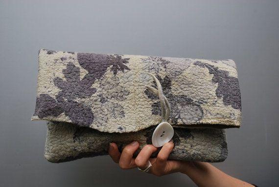 Extraordinary eco dyed hand felted clutch by sassafrasdesign