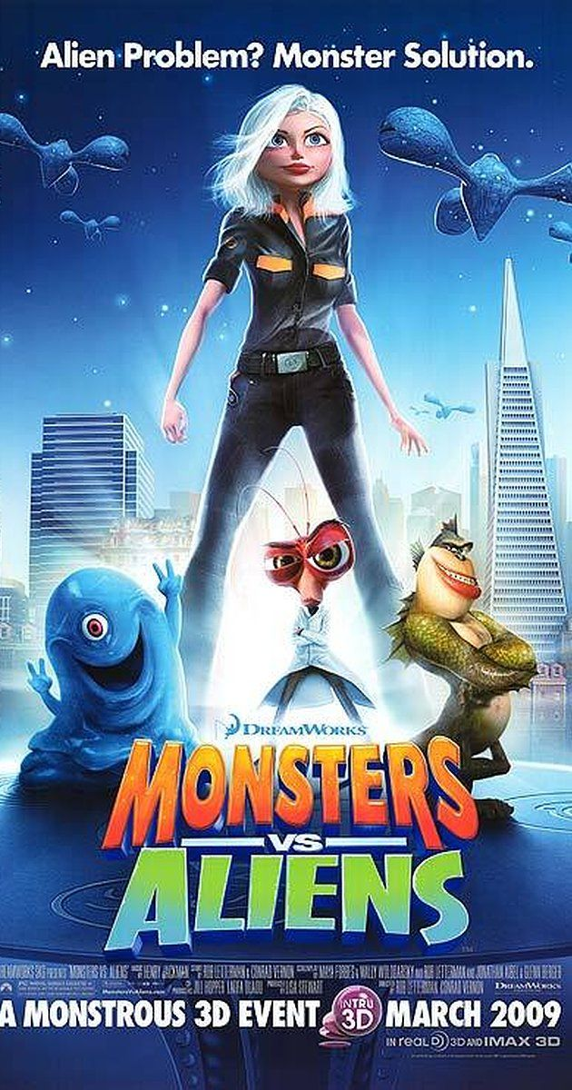Directed by Rob Letterman, Conrad Vernon.  With Reese Witherspoon, Rainn Wilson, Stephen Colbert, Seth Rogen. A woman transformed into a giant after she is struck by a meteorite on her wedding day becomes part of a team of monsters sent in by the U.S. government to defeat an alien mastermind trying to take over Earth.