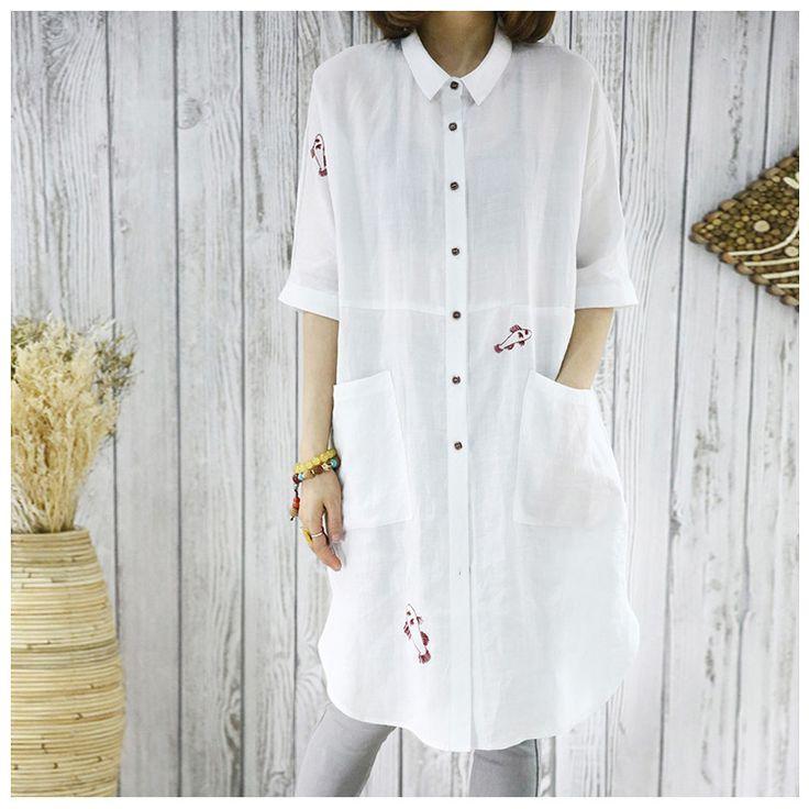 Women white summer cotton linen embroidery shirt - Tkdress  - 2
