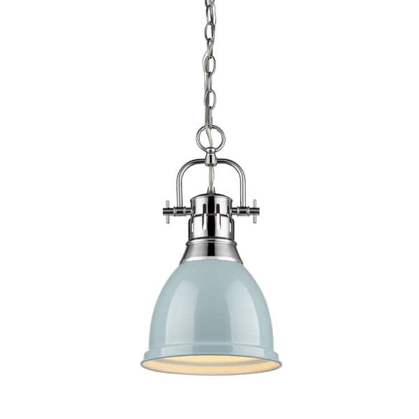 Golden Lighting Duncan Chrome-finished Steel Small Pendant Light Fixture With Chain and Seafoam Metal Shade