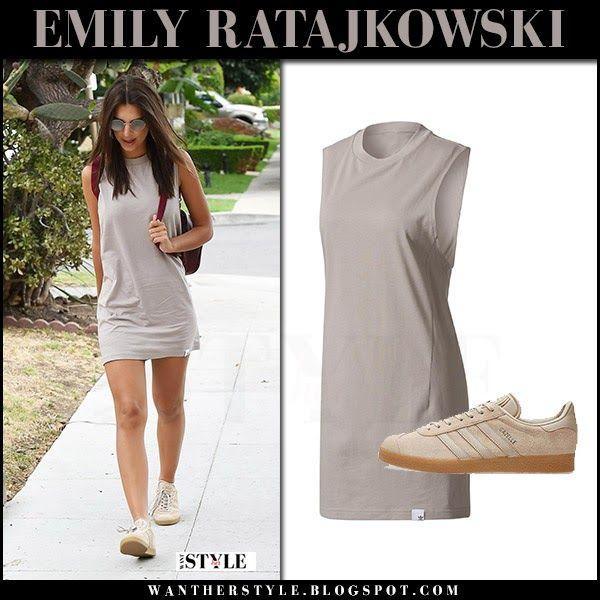 Emily Ratajkowski in grey mini tank dress and sneakers Los Angeles July 24 2017