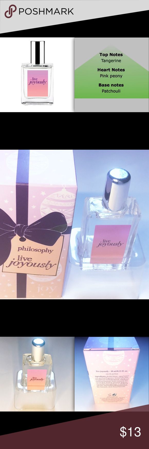 NEW Philosophy Live Joyously eau de parfum ..33 oz NEW Philosophy Live Joyously -philosophy pink peony blossoms with a dynamic femininity expressive - captivating and dynamic. bring a little joy everywhere you roam. this easy-to-tote rollerball lets you experience this expressive - floral perfume wherever life may take you. sparkling tangerine - pink peony blossoms and warm patchouli infuse days and nights with joie de vivre. Philosophy Makeup