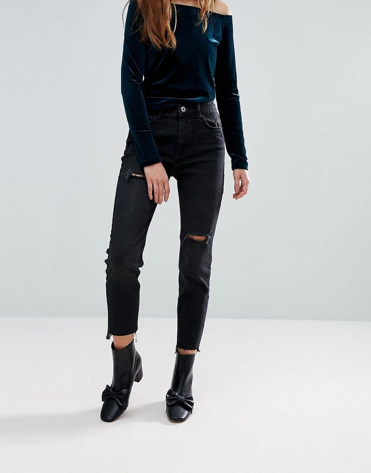 Bershka Straight Leg Washed Black Jean - Black: Jeans by Bershka, Black  wash, Concealed fly, Five pocket styling, Ripped details, ...