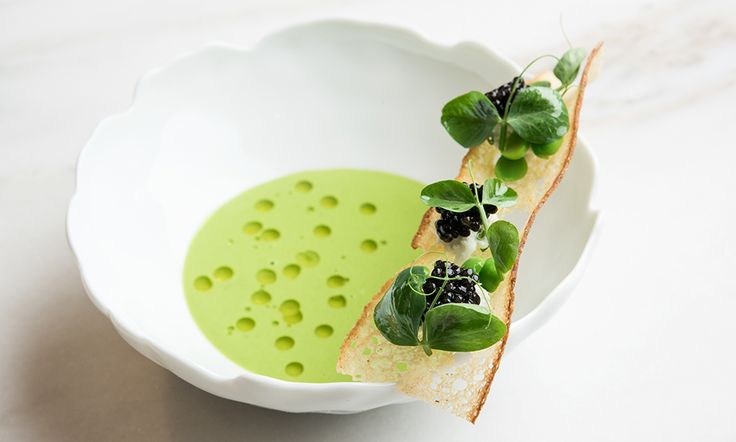 Pea soup with caviar by Abram Bissell of The Modern, NYC. © Evan Sung - See more at: http://theartofplating.com/editorial/inside-the-modern-w-abram-bissell/#sthash.N0dhF9Wc.dpuf