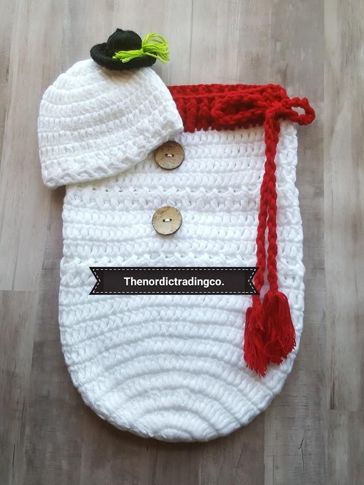 Snowman New Baby Handmade Crochet Christmas Set Snowman's Hat plus Bunting Cocoon Swaddle Sack Baby Shower Gift Ideas December Baby Boy or Girl Infant Newborn Photo Prop Accessories USA #shopmycloset #shopify #snowmanchristmas #babyclothes #snowmangift #newbornbaby #newbornportraits #babyshowergifts #SNOWMEN