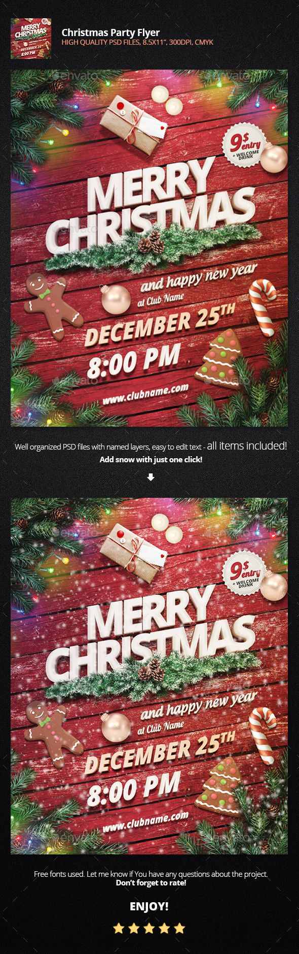 Christmas Party Flyer Template PSD #design #xmas Download: http://graphicriver.net/item/christmas-party-flyer/13893008?ref=ksioks