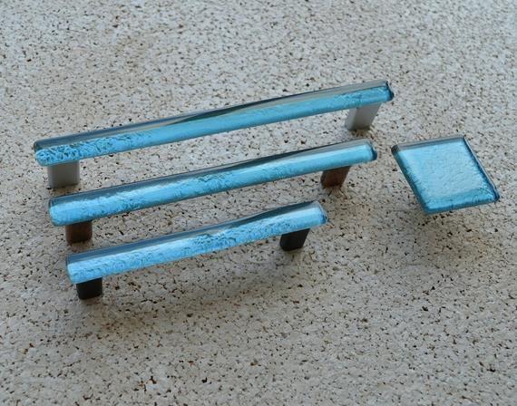 Modern Sky Blue Fused Glass Pull Light Blue Glass Pull Light