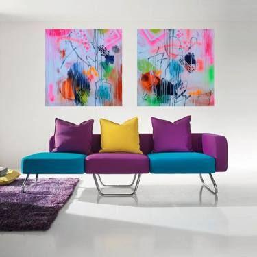 """Saatchi Art Artist susan wooler; Painting, """"Over the Rainbow Bridge Diptych"""" #art"""