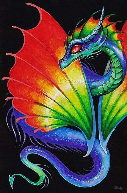 I did a dragon similar to this one. Mine looks different but the body is a lot like this one. I used color pencils and Indian ink.