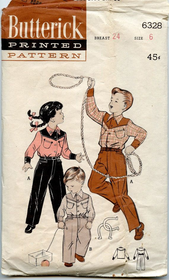 1950s Childs Western Suit Pattern Butterick 6328 by GreyDogVintage, $16.00