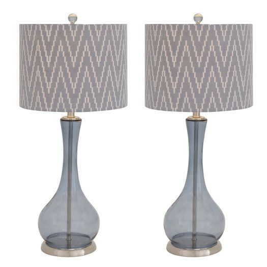 """EC World Imports Urban Zig-Zag Handcrafted Glass 29"""" Table Lamp with Drum Shade"""