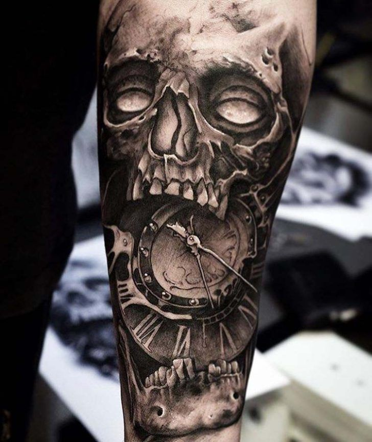 skull tattoo clock black and grey http://tattoopictures.org/black-grey-tattoos/